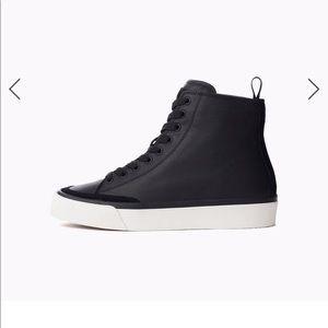 Rag & Bone Standard Black Leather Hi Top Sneakers